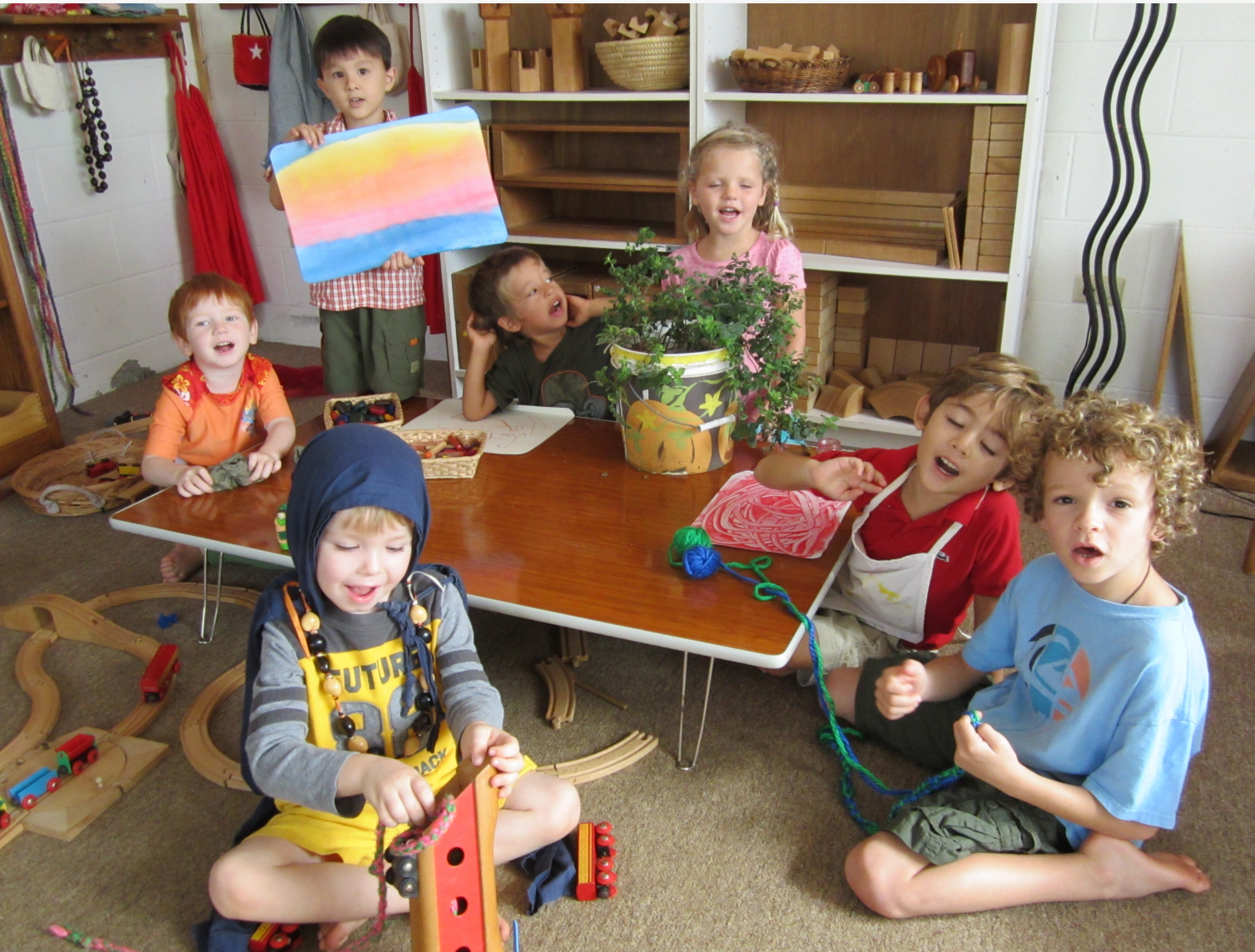 Children share some of the things they make at The Green Preschool in Kailua.